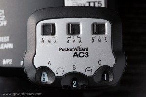 Pocket Wizard's AC3 controller with A-channel in E-TTL. B&C are off.